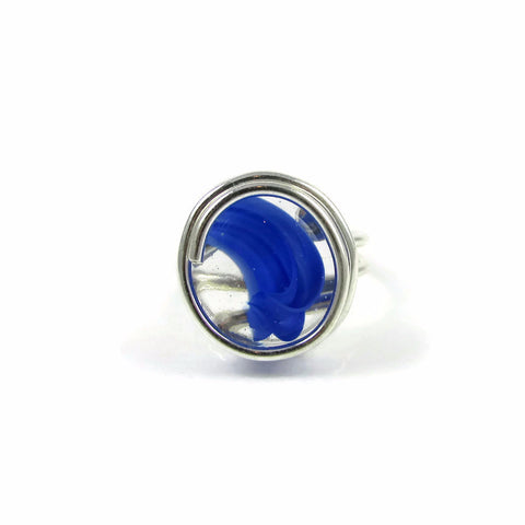 Infinity Glass Ring - Blue Stripe