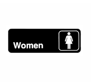 "Winco SGN-312, Information Sign, ""Women"", 3"" x 9"", Black - Kentucky Restaurant Supply"
