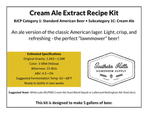Cream Ale 5 Gallon Extract Recipe Kit