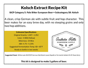 Kolsch 5 Gallon Extract Recipe Kit