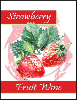 Strawberry Fruit Wine Labels - 30/Pack