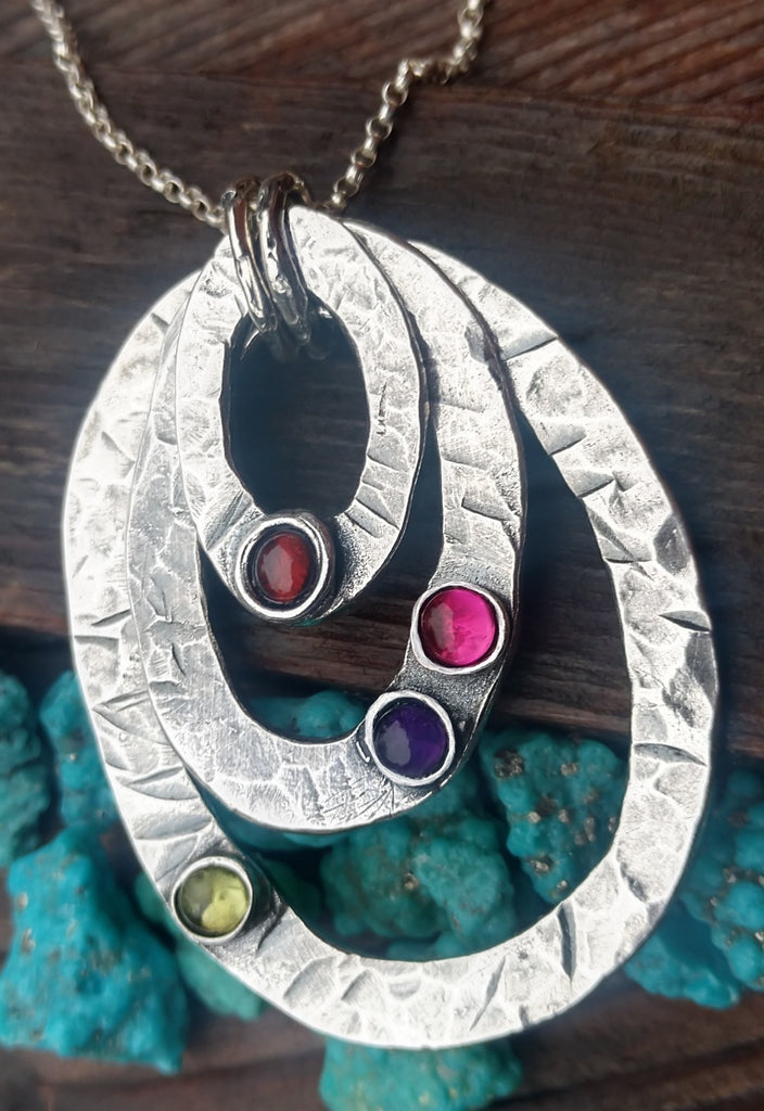 Birthstone Necklace | Layering Oval Eternity Necklace | Mother Jewelry