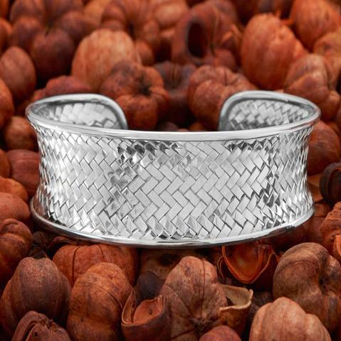 Silver Woven Cuff Bracelet | Sterling Silver Weave Cuff | Textured