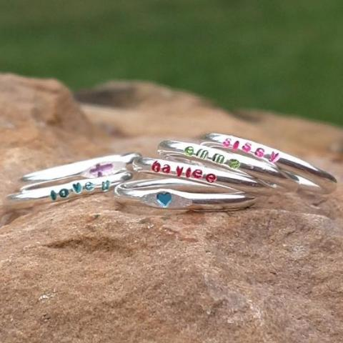 Colored name rings for girls personalized stacking rings sterling silver red blue pink purple green black