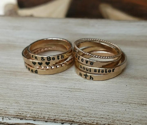 Dainty Stackable Rings | Gold Rose Gold & Sterling Silver