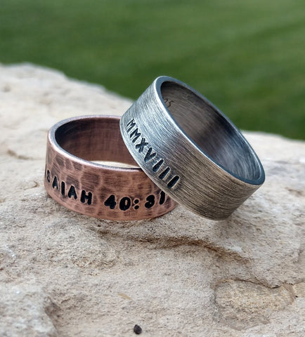 Image of Mens Personalized Ring | Oxidized Sterling Silver Ring Wide 8mm Band