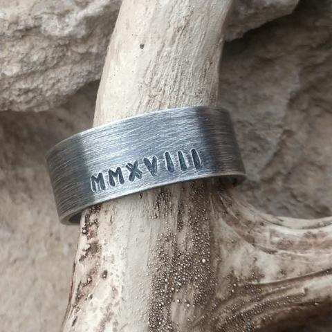 Image of personalized mens ring band oxidized sterling silver wide wedding band for him personalized with date kids names or roman numerals etc
