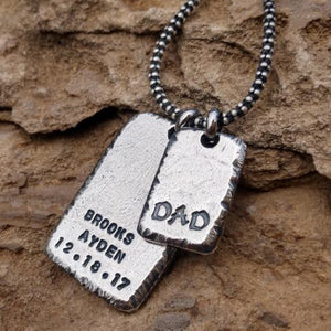 Mens Personalized Necklace Dog Tag Necklace Sterling Silver Pendant for Him Gifts for Men Personalized Fathers Day Gift