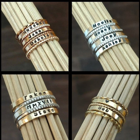 stackable personalized ring name rings sterling silver gold rose gold stacking rings stackable mothers rings