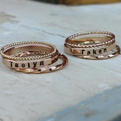 personalized stacking rings in gold rose gold or sterling silver mothers stackable name rings personalized mothers day gifts