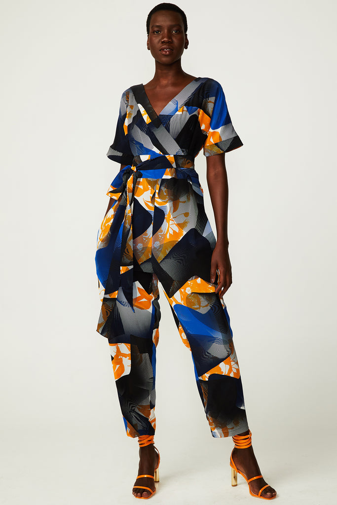 Topographic Bloom Wrap Jumpsuit (was $579) - Last one! (XS)