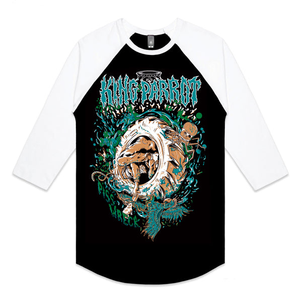 King Parrot - Piss Wreck Raglan (Black/White) front