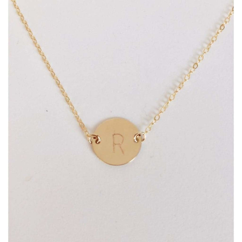 Dainty Initial Disc Necklace-Deluxur