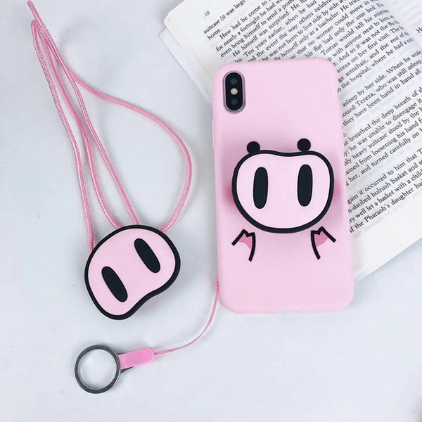 3D funny pig nose silicone phone caseThegirlsoutfits