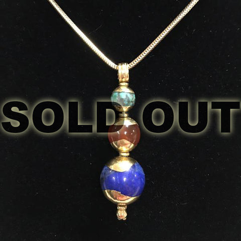 Lapis Lazuli, Carnelian, and Turquoise Egyptian Inspired Pendant in Solid 22 Karat Gold