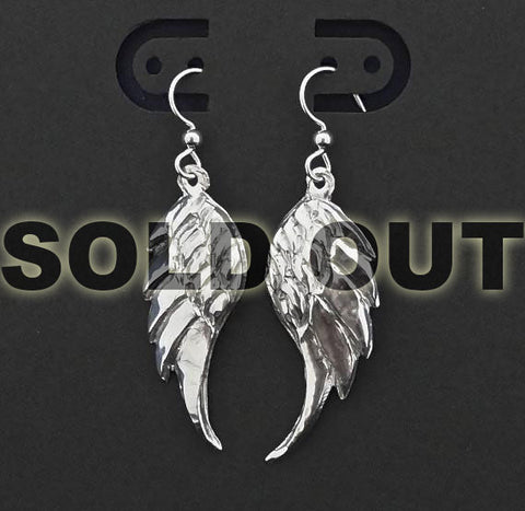 Fine Silver Hand Chased and Repousse'd Angel Wing Earrings