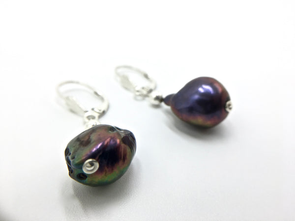 Peacock Baroque Pearl Earrings