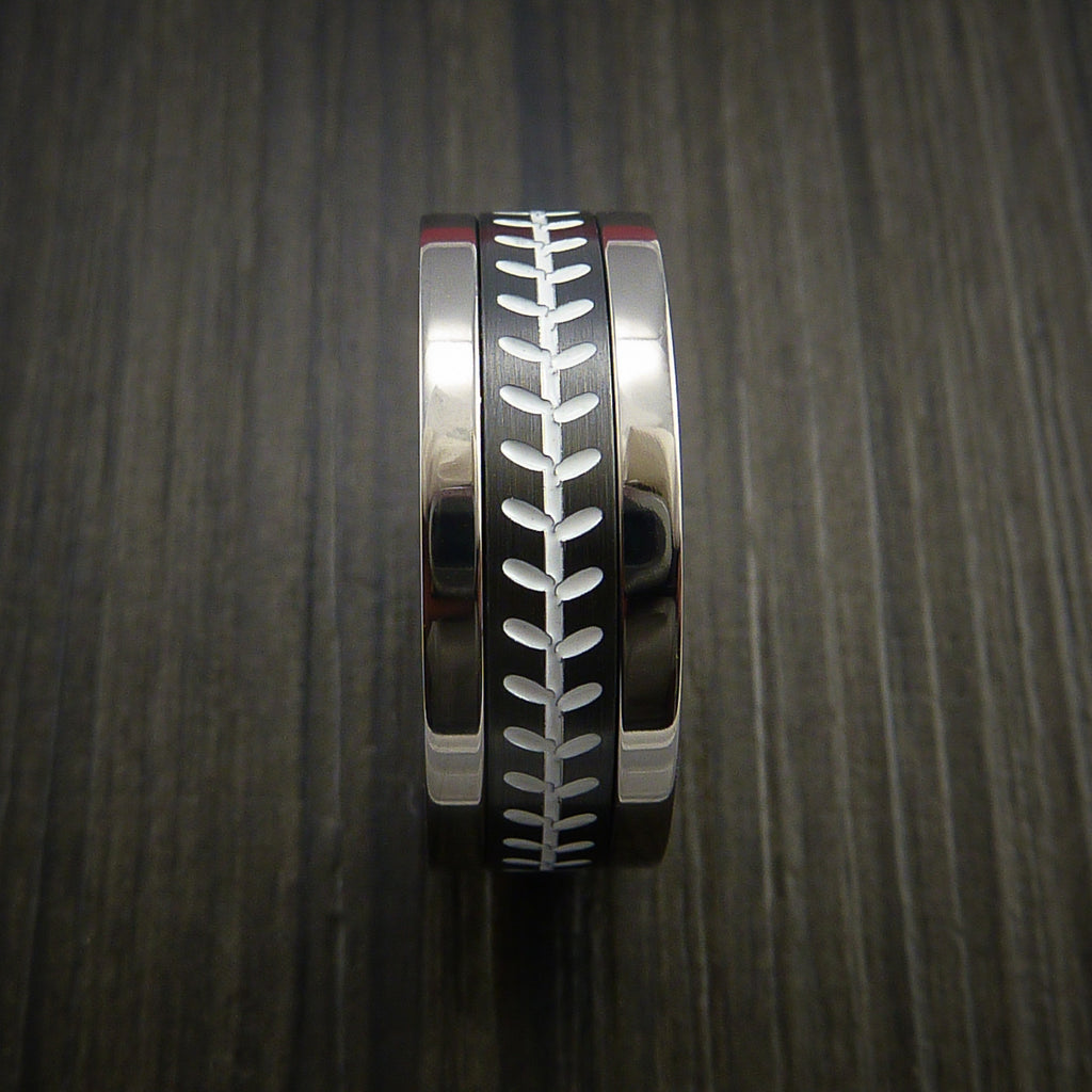 Unique Cobalt Chrome and Black Zirconium Baseball Ring with Strait Stitching - Baseball Rings  - 3