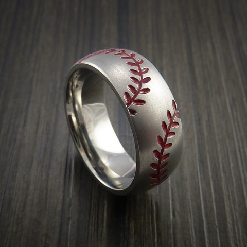 Cobalt Chrome Double Stitch Baseball Ring with Bead Blast Finish - Baseball Rings  - 1