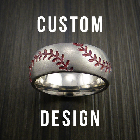 Custom Built Baseball Ring With Custom Double Stitching Color - Baseball Rings  - 1