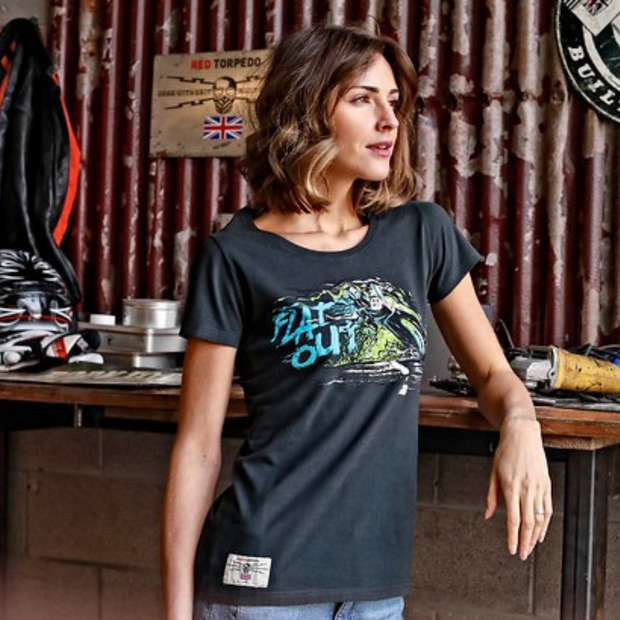 Dean Harrison 'Flat Out' (Ladies) Black T-Shirt