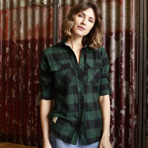 V Twin Green (Ladies) LS Check Shirt