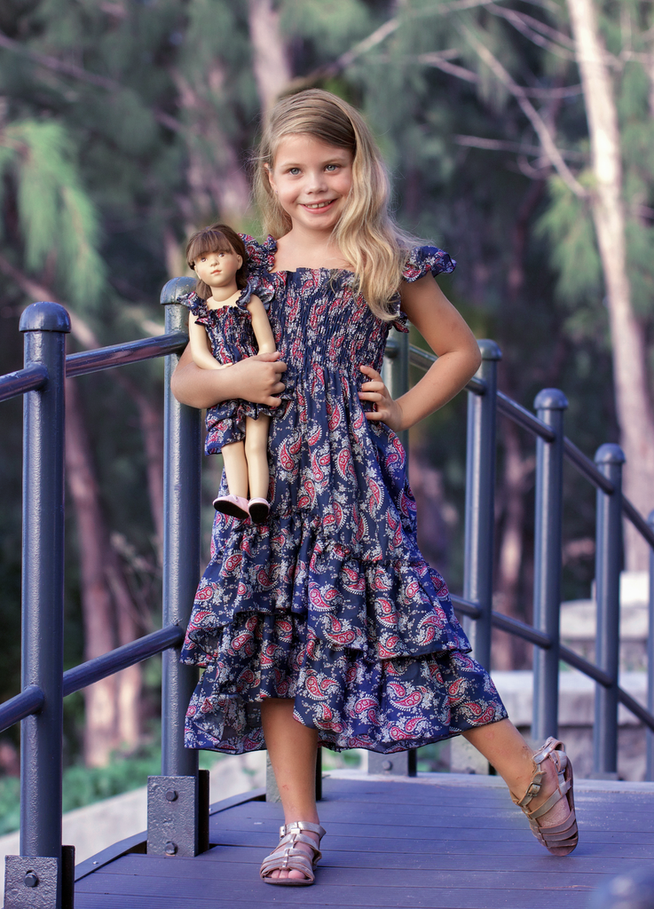 Angel dress - Navy Paisley size 4, 6, 8, 10