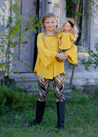 Belle Legging Set - Mustard Chevrons 4, 6, 8, 10, 12