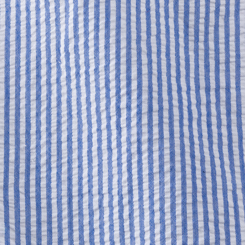 blue cotton seersucker Fabric Swatch