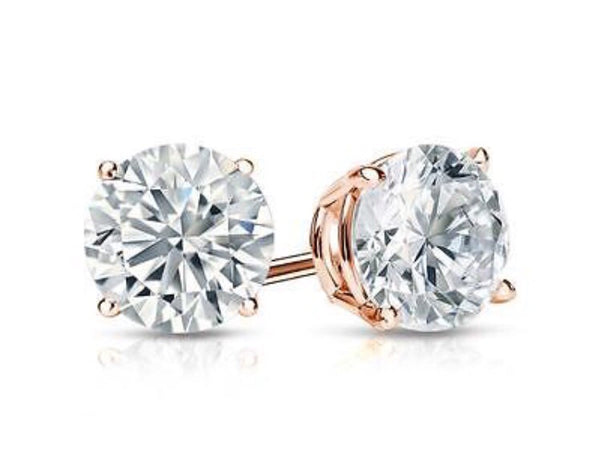 14k Rose Gold Basket Earring Studs 1 ctw