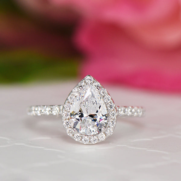1.5 ctw Pear Halo Ring - 10k Solid White Gold
