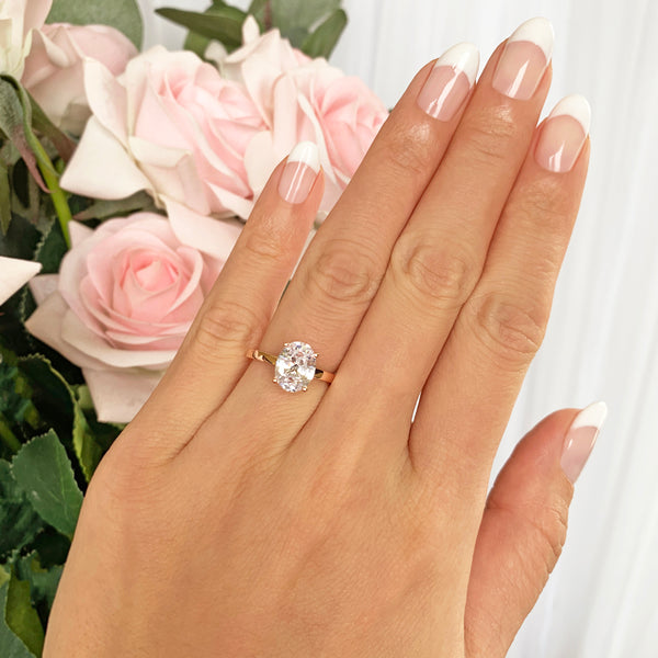 2 ct Oval Classic Solitaire Ring - Rose GP