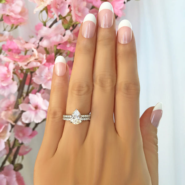 2 ctw Pear Accented Solitaire Set