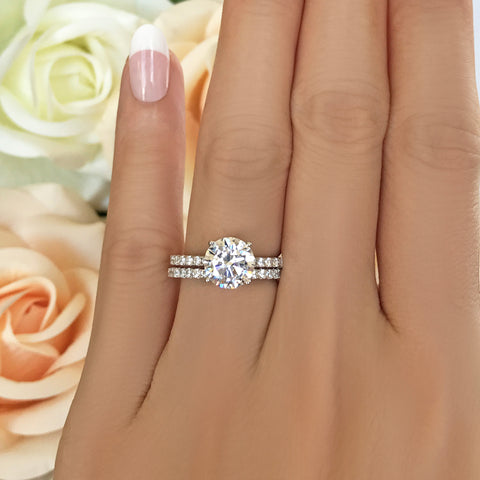 2.25 ctw Art Deco Half Eternity Halo Set - Rose GP