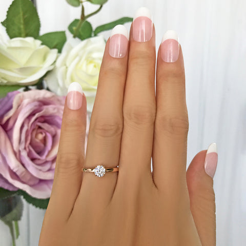 2 ctw 3 Stone Radiant Triangle Ring - 14k White Gold, Sz 7