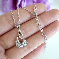 1/2 ct Dainty Swan Necklace - Final Sale