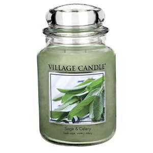 NEW FRAGRANCE - SAGE & CELERY Village Candle Large Jar 26oz 1219g - Candles Sniffs & Gifts