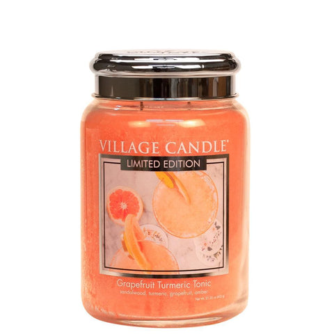 NEW Village Candle Limited Edition Grapefruit Turmeric Tonic Large Jar 26oz - Candles Sniffs & Gifts