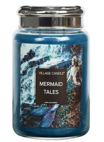NEW Village Candle Fantasy Collection Mermaid Tails Large Jar 26oz - Candles Sniffs & Gifts