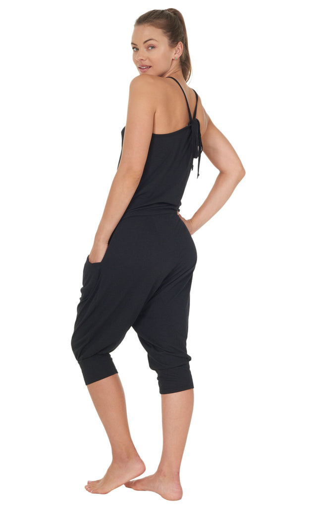 Summer Jumpsuit Capri harem drawstring waist adjustable racerback