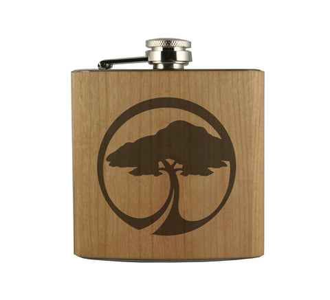 ARBOR TREE ICON - WOOD WRAPPED FLASK
