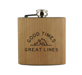 GOOD TIMES GREAT LINES - WOOD WRAPPED FLASK