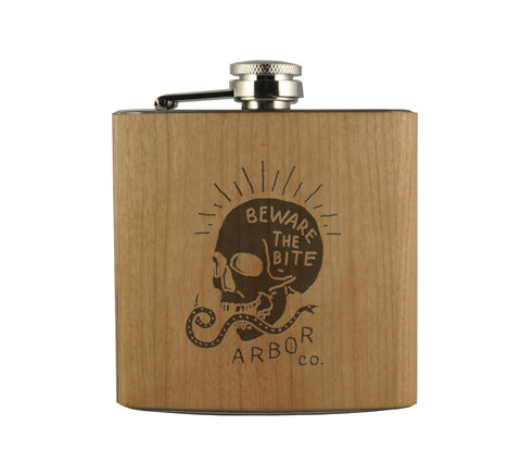 BEWARE THE BITE - WOOD WRAPPED FLASK