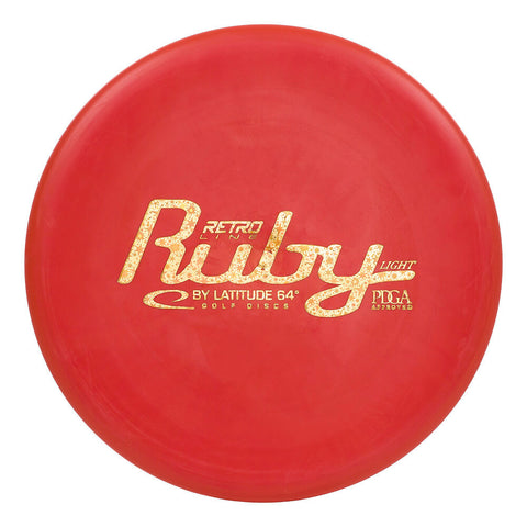 An image showing Latitude 64 Disc Golf, red in color. A disc golf for frisbee