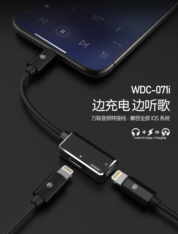 WDC-071i Wolim 2-in-1 Audio Adapter Cable (Apple-Apple)