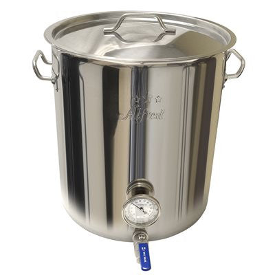 10.5 Gallon 201 Stainless Kettle with Ball Valve and Thermometer