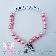 Bubblegum Pink - Crystal Accents - Personalized Bracelet w/ Angel Wing & Awareness Ribbon Charm