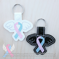 Embroidered Pregnancy, Infant, & Child Loss Keyfob - Black or White