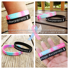 Miscarriage Awareness Wristband (Black or Pink/Blue Swirl)