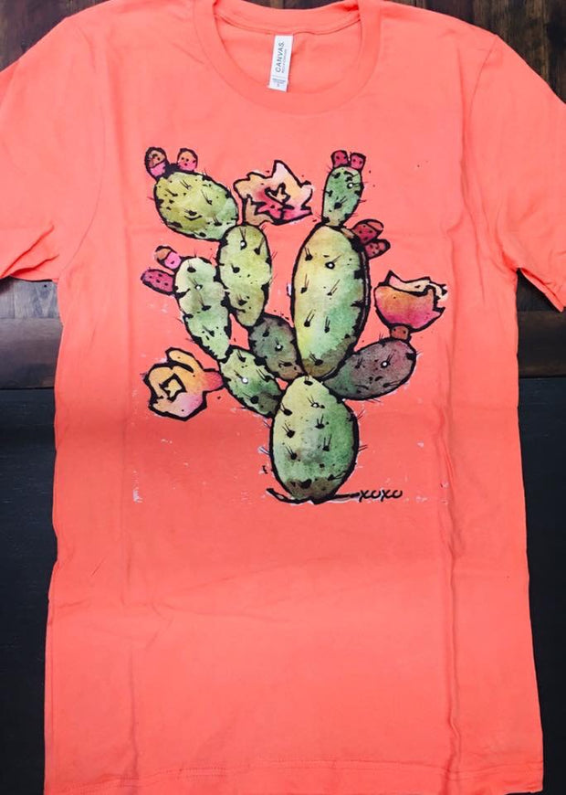 Coral Cactus Tee